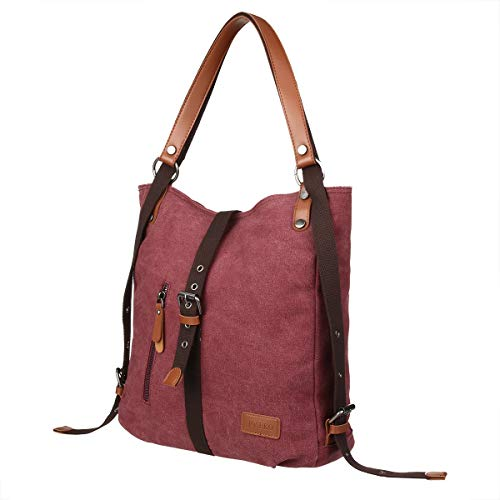 Rucksack Women Fashion Backpack Anti-Theft Canvas Backpack, JOSEKO Ladies Travel Bag School Bag Vintage Bag Large Capacity Casual Daypack for Vacation Travel Hiking Daily Work Dark Coffee