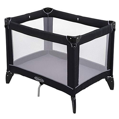 Graco Kompaktes Reisebett (Geburt bis ca. 3 Jahre) mit charakteristischem Graco Druckknopf-Falz, inklusive Tragetasche, schwarz/grau