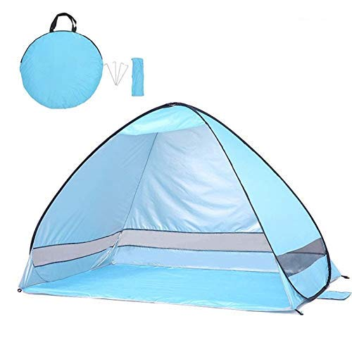 Tent, Pop Up Tent - Automatic Instant Tent - Portable Cabana Beach Tent - Fits 2 People - Windows and Doors on Both Sides - Water Resistant, UV Protection Sun Shelter - Carry Bag Included HRTT