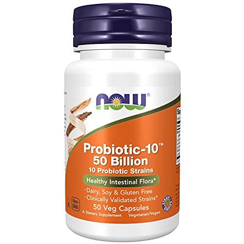 NOW Supplements, Probiotic-10, 50 Billion, with 10 Probiotic Strains, Strain Verified, 50 Veg Capsules
