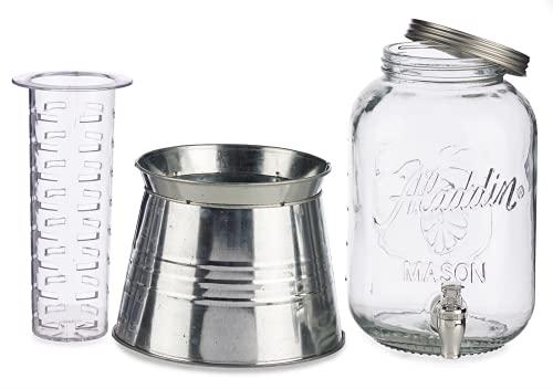 TIENDA EURASIA Dispensador de Agua/Bebidas con Grifo - Recipiente de Cristal y Dosificador Metálico - 3800 ML (Plata, Con Soporte - 20,5 x 28,5 x 20,5 cm)