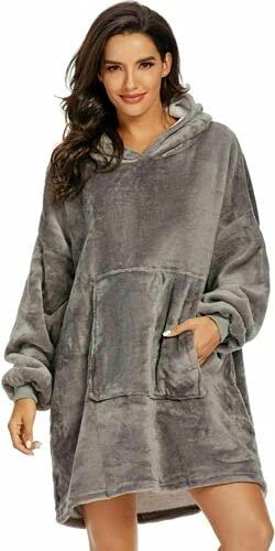 Sudadera para mujer, sudadera con capucha de sherpa de gran tamaño, con capucha, suave, cálida, cómoda, con capucha, talla única para mujer, color gris
