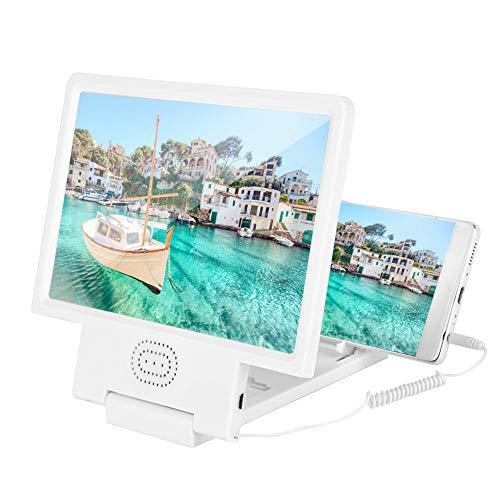 Mugast mobiele telefoon scherm vergrootglas met luidspreker, Zoom 3 keer, High-definition, Stereo Effect, Geschikt voor alle soorten mobiele telefoons Geschikt voor Lezen, Kijk 3D Mobiele Films., Kleur: wit
