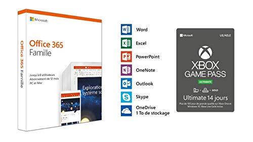 Microsoft Office 365 Famille | jusqu'à 6 utilisateurs | 1 an | PC ou Mac (envoi par la poste) + en EXCLU 14 jours de Game Pass Ultimate offert (Code Digital)
