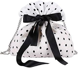 SODIAL Summer New Wave Point Silk Drawstring Bucket Bag Shoulder Lady Chain Messenger Bag Wallet White