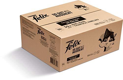 FELIX So gut wie es aussieht Katzenfutter nass in Gelee, Sorten-Mix, 120er Pack (120 x 85g)