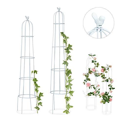 Relaxdays Rankhilfe, 2er Set, Vogel, freistehend, Beet, Kletterpflanzen, wetterfest, Rankturm H: 113 cm & 103 cm, weiß