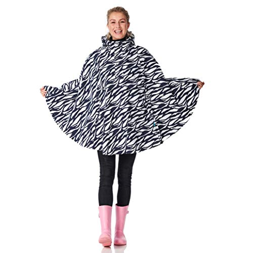 HappyRainyDays Marit rain Poncho Zebra Midnight Blue/White-One Size