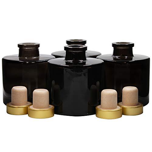 Frandy House Zerstäuberflaschen, Glas, rund, mit goldenen Korkdeckeln, 7 cm hoch, 100 ml, Schwarz, 4 Stück Duft-Zubehör für Diy-Ersatz-Sets