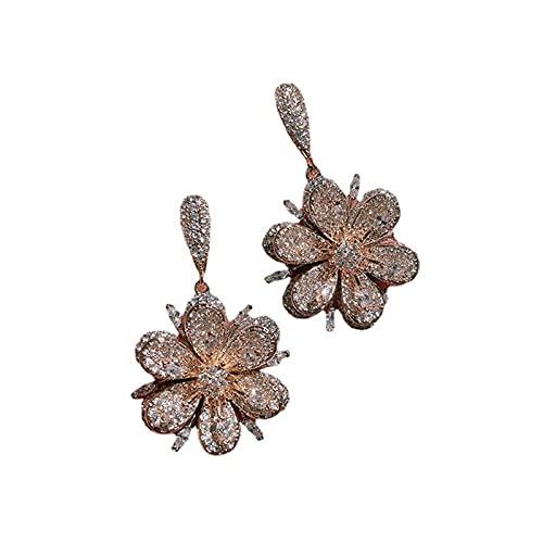 FOOSKOO Ohrringe für Damen Ohrringe Für Frauen Micro-Inline Zirkon Kristall Dreidimensionale Blumen Ohrring Für Frauen Mädchen