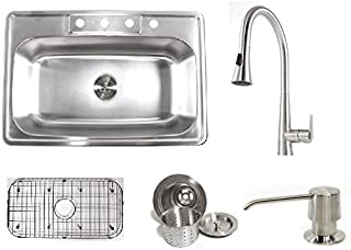 33 Inch Stainless Steel Top Mount Single Bowl Kitchen Sink and Eclipse Design Faucet Combo