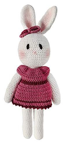 LOOP BABY - Gehäkelte Hasen-Puppe - Häkelhase rosa Ballerina aus 100 % Bio-Baumwolle - waschbar - Häkelpuppe Hase