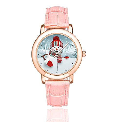 InterestPrint Funny Cartoon Happy Snowman Christmas Women's Casual Rose Gold-plated Leather Strap Wrist Watch Pink
