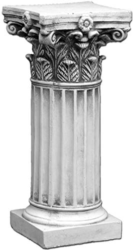 gartendekoparadies.de Schöne große Säule Podest Sockel mit Motiv Blätter aus Steinguss frostfest