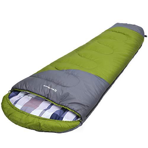 SONGMICS Schlafsack, Mumienschlafsack mit Kapuze, Kragen mit Kordelzug, für 5-15°C, 220 x 60-90 cm, mit Kompressionsbeutel, für alle 4 Jahreszeiten, Camping, Wandern, Reisen, grün-grau GSB10JG