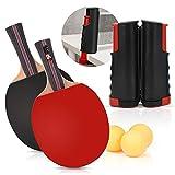 Bates de tenis de mesa y red retráctil con estuche y 4 pelotas de ping pong para el hogar, la escuela y el club deportivo