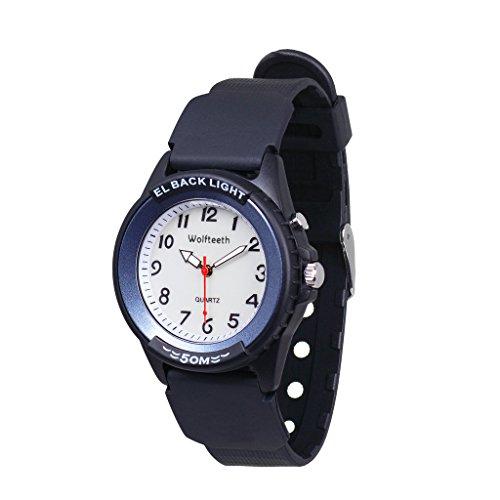 Wolfteeth Analog Quartz Boys Reloj De Pulsera con Segunda Mano Luminosa Retroiluminación Dial Blanco Resistente Al Agua Moda Reloj Azul 305202