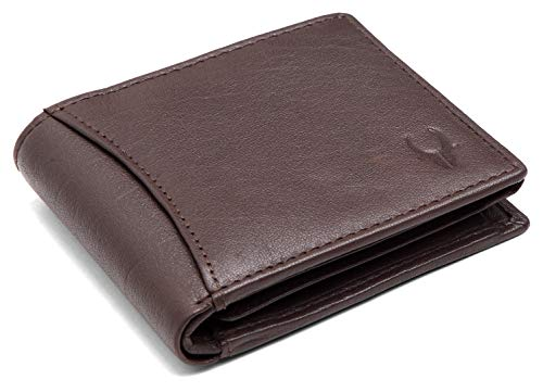 WildHorn® RFID Protected 100% Genuine High Quality Mens Leather Wallet (Carob Brown)