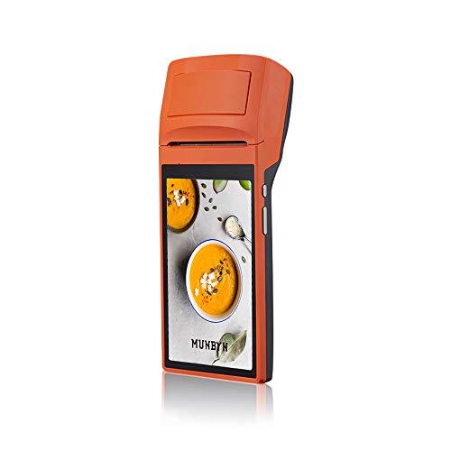 MUNBYN Lecteur de codes-barres avec scanner de terminal portable Android 6.0 POS avec imprimante thermique Bluetooth 3G WIFI intégrée pour reçus entreprises 1D 2D QR Lecteur de code barre (IPDA032)