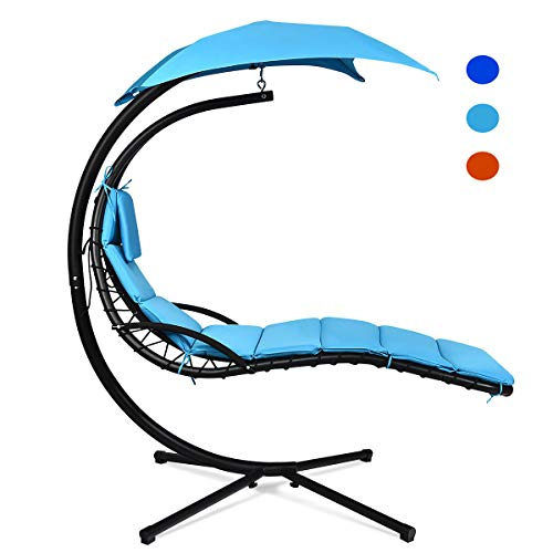 Giantex Hanging Chaise Lounger Chair, Arc Stand...