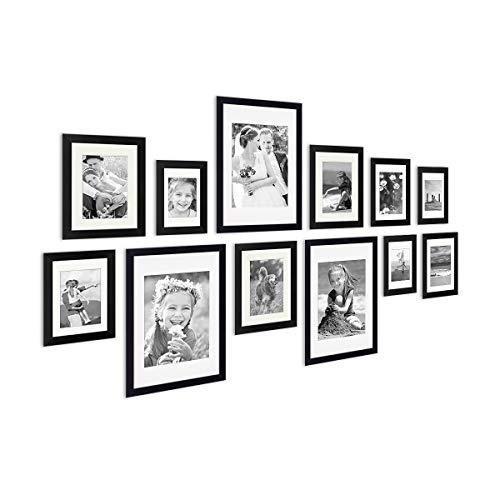 Photolini Set di 12 cornici per Foto Moderno in Legno Massiccio Nero con passepartout | portafoto | cornici per Ritratti | cornici intercambiabili