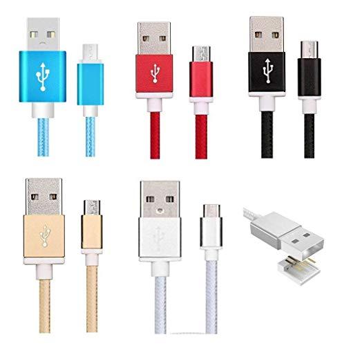 Sweet Tech Gemischte Farben (Packung mit 5 Stück) 1.5m Micro USB Nylon Umflochtenes Verwicklungssicheres Kabel Ladekabel Datenkabel Geeignet für m-net Power 1