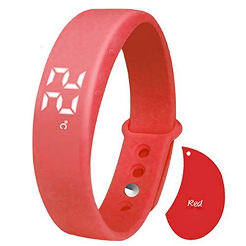 Styledress Fitness Smartwatch,W5 Schrittzähler-Schlafmonitor Temperatur Armband Fitness Armband, Armbanduhr Uhren Uhr Smart Watch Fitness Uhr für Herren Damen (rot)