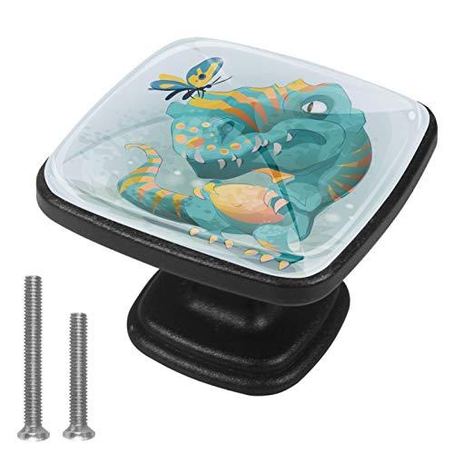 Home - Juego de 4 pomos cuadrados para armario de cocina, muebles de cocina, gabinete, cajón, cajón, tocador, lindo bebé Trex dinosaurio jugando con mariposa