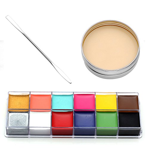 CCbeauty 3PC Set Professional Halloween Makeup kit Special Effects Stage Makeup Fake Wound Scars Wax + Oil Painting(flash color) + Spatula Tool