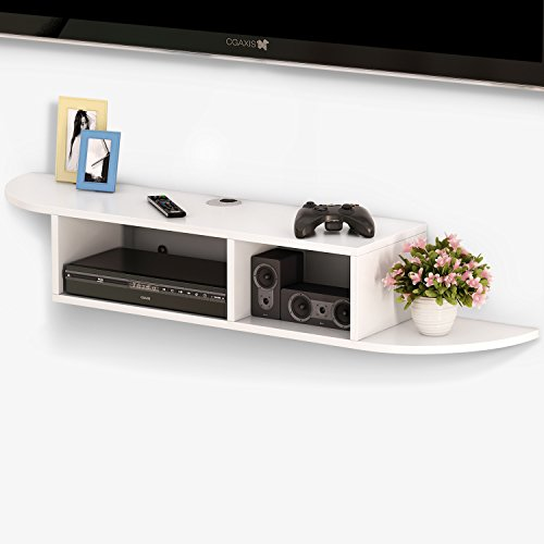 Tribesigns 2 Tier Modern Wall Mount Floating Shelf TV Console 43.3x9.4x7 inch for Cable Boxes/Routers/Remotes/DVD Players/Game Consoles (White)