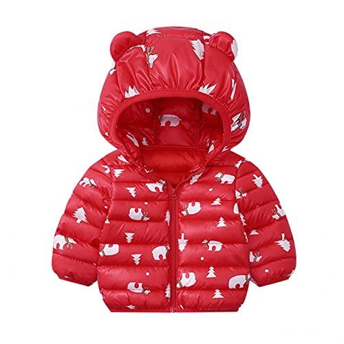 Dinnesis Abrigo para bebé con capucha y orejas de manga larga, resistente al viento, cálido, con cremallera, ropa de invierno, para niños pequeños, niñas, Nº 25, 90 cm
