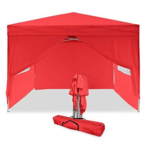 COBIZI Carpa Plegable 3x3M, Impermeable, Cenador de jardín con 4 Partes Laterales, Protección UV 50+, Pabellon Toldo Eventos Carpas para Exteriores, Terraza, Jardín, Fiestas, Camping, Playa (Rojo)