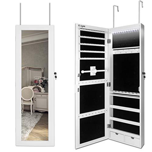 Ezigoo Schmuckschrank Spiegel Türgestell/Spiegel Schmuckschrank hängend mit LED Lichtleiste 110 x 31,5 x 8,5 cm