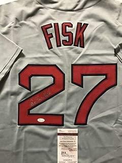 Autographed/Signed Carlton Fisk Boston Grey Baseball Jersey JSA COA
