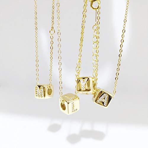 LIUL Collar con Colgante de Cubo del Alfabeto, Collar de Cadena Larga de Oro para Mujeres y niñas, Collar con Letra Inicial, Collar de circonita, S