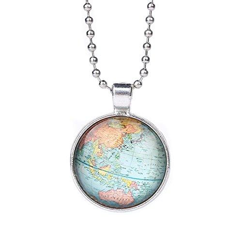 EAGLESTIME Collar Colgante Redondo Mapa Mundo Cadena