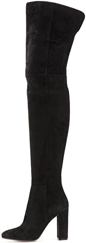 SYYAN Femmes Daim Imitation Manuel Pompe Pompe Bottes Cuissardes Noir, noir, 38  sortie de vente pas cher en ligne