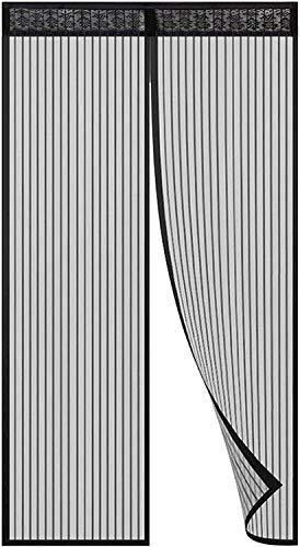 Cortina de puerta anti-mosquitos, Sebami Mosquitera Magnética para Puertas, Anti Insectos Moscas y Mosquitos con Cinta de Botón de Nylon Adhesiva, Sala de Estar, Balcón, Puerta, Fácil de Montar sin Taladrar (100cm x 210cm, Negro)