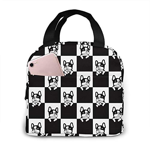 French Bulldog Puppy Checked Lunch Bag Insulated Lunch BoxLeakproof Cooler Cooling Tote With Front Pocket For Men Women