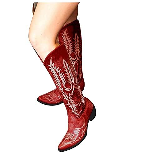 Dasongff Santiags Femme Western Boots Femme Cuir Moto Vintage Boot Equitation Bottes de Chevalier Broderie Rétro Confort Santiag Botte Larges Femmes Cowboy Western Bottes Montantes à Talons Bas