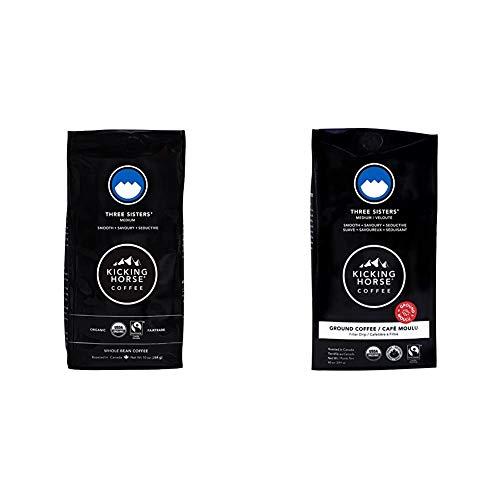 Kicking Horse Coffee, Three Sisters, Medium Roast, Whole Bean, 10 Oz - Certified Organic, Fairtrade, Kosher Coffee & Three Sisters, Medium Roast, Ground, 10 Oz - Certified Organic, Fairtrade