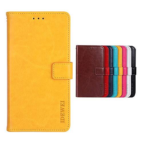 SHIEID Hülle für Ulefone Power 6 Hülle Brieftasche Handyhülle Tasche Leder Flip Hülle Brieftasche Etui Schutzhülle für Ulefone Power 6(Gelb)