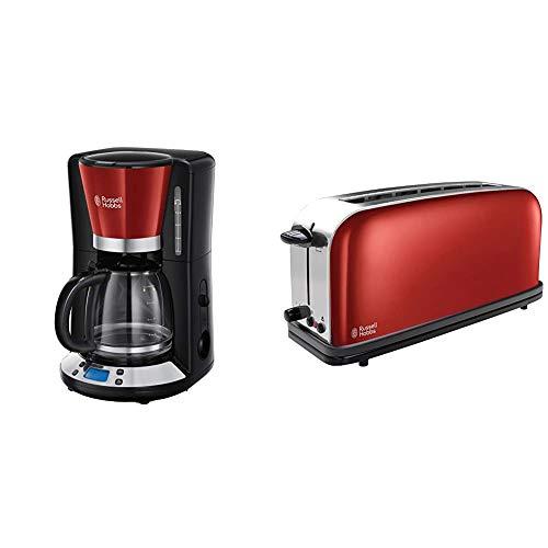 Russell Hobbs Colours Plus - Cafetera de Goteo (Jarra Cafetera para 15 Tazas, 1000 W, Negro y Rojo) + Hobbs 21391-56 Colours Plus - Tostadora, Ranura Larga y Ancha, para 2 Rebanadas
