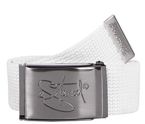 2Stoned Gürtel Canvas Belt Weiß, matte Schnalle Classic, 4 cm breit, Stoffgürtel für Damen und Herren