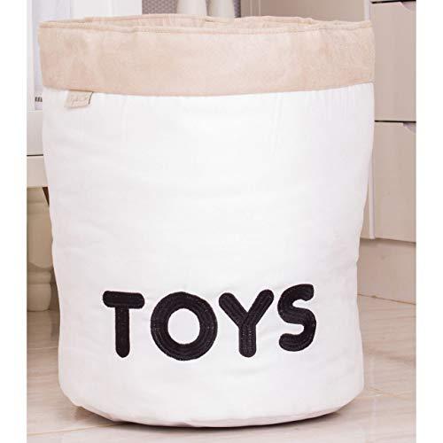 Giz de Cor Confecções, Cesto Organizador para Brinquedos Toys, branco/Caqui