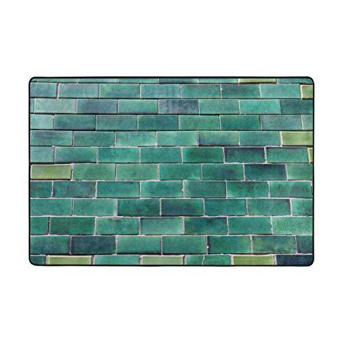 Montoj Portuga - Alfombrillas de suelo con diseño de ladrillos esmaltados, color verde, poliéster, 1, 36 x 24 inch