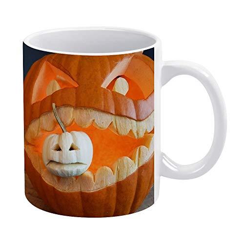 15 oz Funny Coffee Mug, Carving Pumpkin Coffee Tea Cup Funny Mug Novelty Coffee Mug for Men Women Birthday Festival Christmas and Halloween