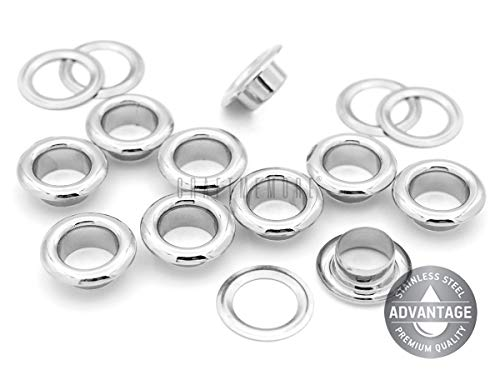 CRAFTMEMORE 100 PCS Quality Stainless Steel Grommets Eyelets for Clothing, Bead Cores, Canvas, Shoes (6 mm)