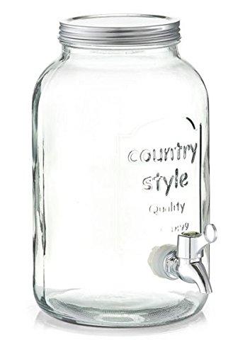 Zeller Getränkespender Countrystyle aus Glas mit Schraubdeckel aus Metall, 3,5 Liter, Getränkestation im Vintage-Design, Wasserspender mit Zapfhahn