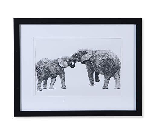Quadro Gravura Mãe Elefante Etna Preto/Branco 30X40cm